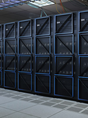 Installed racks of the IBM Power E1080 server. The IBM Power E1080 server uses 33% less energy consumption for the same workload as compared to the IBM Power E980. Photo credit: IBM
