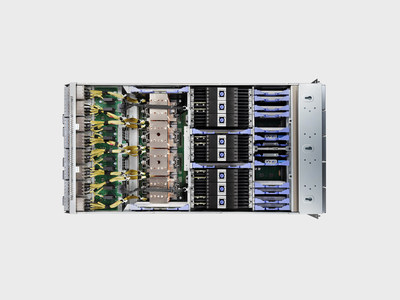 A view of the IBM Power E1080 server with the cover removed. The IBM Power E1080 set a new world record for SAP's SD Tier-2 benchmark, beating the closest x86 server by 40%. Photo credit: IBM