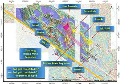 Figure 2: Location of regional soil grids relative to the Tucano mine sequence. (CNW Group/Great Panther Mining Limited)