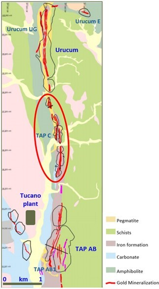 Figure 1: Tap C location and current operating areas of TAP AB and Urucum with Tucano plant. (CNW Group/Great Panther Mining Limited)