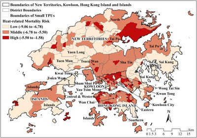 Map of heat-related mortality risk, Hong Kong