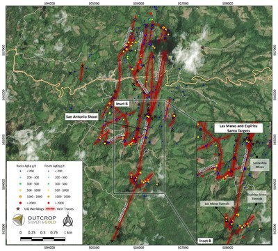 Map 2: Maras target 200 metres west of Espiritu Santo with high values in vein float extending over a distance of over 200 metres. Two converging veins are inferred by Maras and Espiritu Santo workings and anomalies. (CNW Group/Outcrop Silver & Gold Corporation)