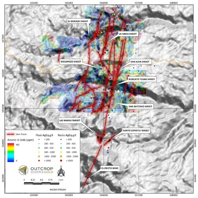 Map 3: Six shoots discovered to date and seven newly mapped and sampled veins are shown extending up to 1,000 metres north from El Dorado and La Ivana shoots. The Maras and Espiritu Santo targets and related veins extend from San Antonio shoot two kilometres south to the El Christo Mine area. Veins in this area have a surface footprint of 6 kilometres by 2 kilometres. (CNW Group/Outcrop Silver & Gold Corporation)