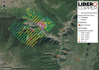 Figure 1: Plan map illustrating the soil sample results and the status of the 2021 drill program on the Terry Target. Drilling in 2020 discovered porphyry copper mineralization in the Limpoke Cliff area, location of holes BR-21-28 to 30. (CNW Group/Libero Copper & Gold Corporation.)