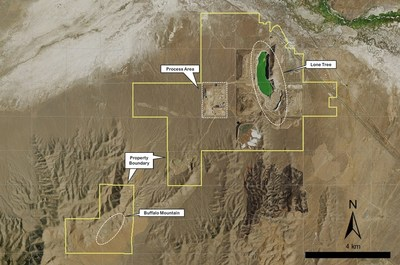 Figure 4 – Plan Displaying the location of the Buffalo Mountain Deposit in relation to Lone Tree (CNW Group/i-80 Gold Corp)