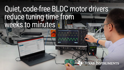 Integrated real-time control enables engineers to spin BLDC motors in less than 10 minutes while making motor systems quieter and as much as 70% smaller
