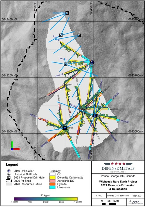 Figure 1. Wicheeda REE Deposit 2021 Drill Plan (CNW Group/Defense Metals Corp.)