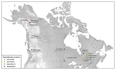 Figure 1. Kenorland Minerals North American Project Locations (CNW Group/Kenorland Minerals Ltd.)