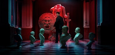 Young Fellini and 'The Mouth of Truth', a key scene in a new short movie created using Artificial Intelligence as part of Campari Red Diaries 2021 Fellini Forward; a project exploring the creative genius of Federico Fellini.