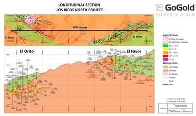 Figure 3: Favor-Orito Long Section (CNW Group/GoGold Resources Inc.)