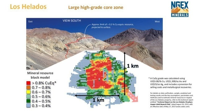 NGEX Los Helados High Grade Core Section. News release September 8, 2021 (CNW Group/NGEx Minerals Ltd.)