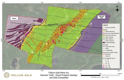 Figure 1: Geology plan of the Newman Todd and Rivard properties showing significant composite intervals. Labelled exploration areas correspond to bullet points below. (CNW Group/Trillium Gold Mines Inc.)