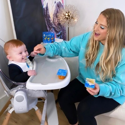 Meghan Trainor and son Riley are starting a new adventure with solid food thanks to the variety of flavors from Gerber's My 1st Starter Kits!