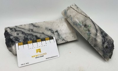 Figure 5. Photos of mineralization from NFGC-21-311, approximately 296 m down hole depth (CNW Group/New Found Gold Corp.)