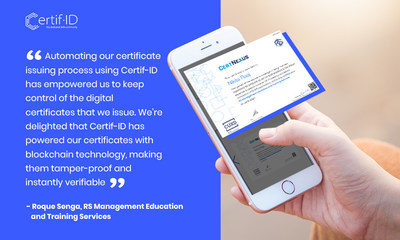 RS Management Education and Training Services issues digital certificates to graduates