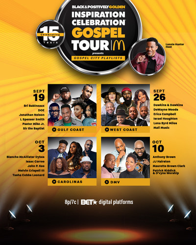 """Brought to fans by the Black & Positively Golden movement, McDonald's announces the virtual return of its 15th annual Inspiration Celebration® Gospel Tour. Benefitting Ronald McDonald House Charities® (RMHC®), the four-part concert series, themed """"Gospel City Playlists,"""" will begin September 19 and run every Sunday through October 10 on BET.com, BET Network's YouTube channel and the McDonald's app at 8 p.m. ET / 7 p.m. CT."""