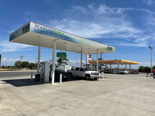 Pearson Fuels has nearly 250 locations throughout California, including this site near Tulare, California, where the company has its own canopy.
