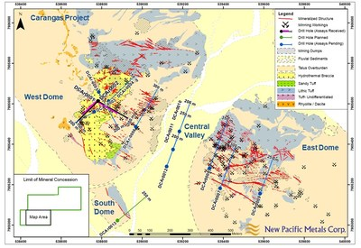 Figure 1. Simplified geology plan map and drill holes of the Discovery Drill Program at the Carangas Silver Project. (CNW Group/New Pacific Metals Corp.)