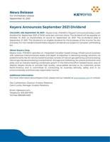 News Release September 2021 Dividend final (CNW Group/Keyera Corp.)