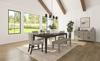 Chevron's dinning set is crafted in solid pine, and marked by subtle, V-shaped pattern details, and comes with multiple chair styles (some covered in performance fabrics), a bench option, and thicker tabletops that play up the rustic, natural appeal.