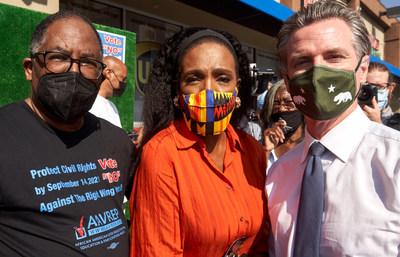 Councilmember Mark Ridley-Thomas, Actor Sheryl Lee Ralph and California Governor Gavin Newsom