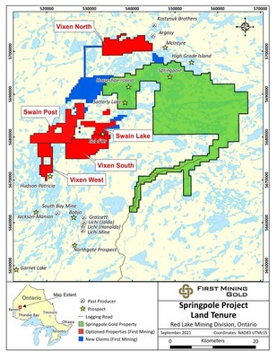 Figure 1: First Mining Gold Claims Around Springpole Gold Project (CNW Group/First Mining Gold Corp.)