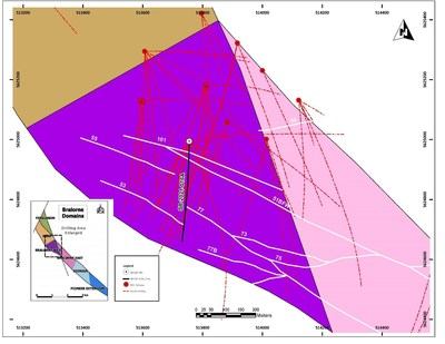 Figure 3: Overview map showing Bralorne West, the drill hole included in this press release, major gold-bearing quartz veins (gray) and associated bounding fault structures. (CNW Group/Talisker Resources Ltd)