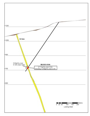 Figure 2: Figure showing the location of SB-2021-016A on the 53 Vein. (CNW Group/Talisker Resources Ltd)