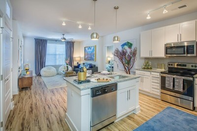 The Blu at Northline apartment homes range from studios to three-bedrooms and feature gourmet kitchens with extra storage, granite countertops, and wood-style flooring.