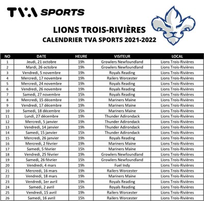 Plus de 25 matchs diffusés à TVA Sports pour la première saison des Lions (Groupe CNW/Vidéotron)