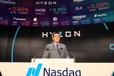 Hyzon CEO Craig Knight rings Nasdaq Opening Bell.