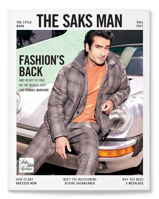 Kumail Nanjiani stars on the cover of Saks' Fall 2021 Men's Style Book