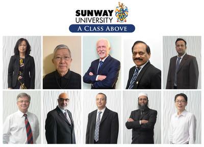 First row (L-R) Prof Chia, Prof Teo, Prof Poppema, Prof Agamutu, Prof Dr Adarsh; Second row (L-R) Prof Edward, Prof Pervaiz, Prof Kheireddine, Prof Saidur, Prof Yau (PRNewsfoto/Sunway Education Group)