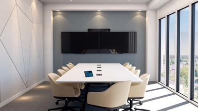 The Poly Studio X70 is designed to bring broadcast quality to every meeting with its pro-grade audio and video for large workspaces.
