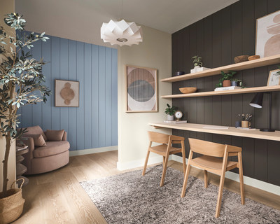 Color combinations within the Softened Refuge Color Collection can easily be used to craft spaces that help promote positive physical and mental wellbeing.