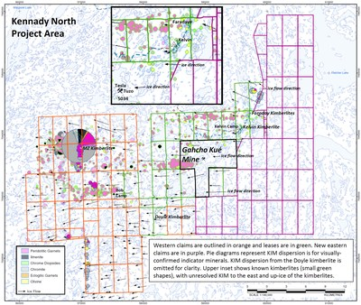 Lease Map Kennady North 2021 (CNW Group/Mountain Province Diamonds Inc.)