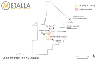 Castle Mountain Royalty Map (8) (CNW Group/Metalla Royalty and Streaming Ltd.)