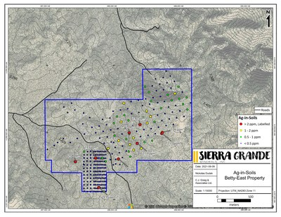 Figure 3. Silver-in-soil results for the Betty Springs property. (CNW Group/Sierra Grande Minerals Inc.)