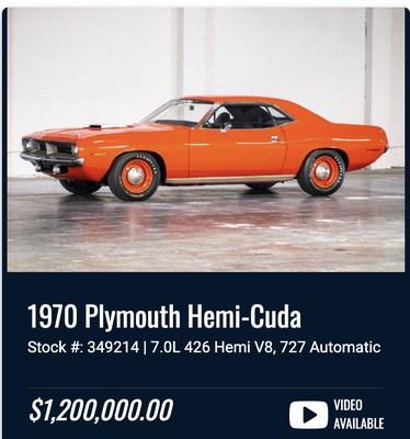 The rare Hemi Cuda with less than 90 original miles!