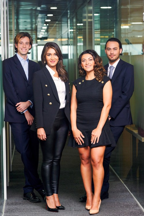 Eclipse Air Charter Global Management Team from left to right: Harry Pike, Yasmin Alam, Lily Karapetyan, Erik Khor.