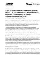 ATCO ACQUIRES 39 MW SOLAR DEVELOPMENT PROJECT IN EASTERN ALBERTA, REINFORCING ITS ONGOING COMMITMENT TO A MORE SUSTAINABLE ENERGY FUTURE. (CNW Group/ATCO Ltd.)
