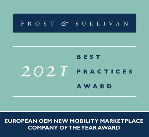2021 European OEM New Mobility Marketplace Company of the Year Award (PRNewsfoto/Frost & Sullivan)