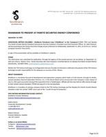 ShaMaran to Present at Pareto Securities Energy Conference (CNW Group/ShaMaran Petroleum Corp.)