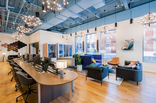 Part clubhouse, part lifestyle loft, and part creative studio, SERHANT. House NYC features a full-service film studio, podcast studio, client lounge, high-tech conference rooms, coworking-style space for agents, phone booths for individual work and virtual meetings, and high-end finishes throughout.