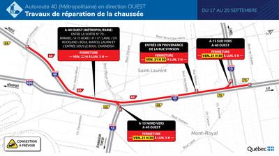 A-40 (Métropolitaine) - Fermeture complète en direction ouest - Du 17 au 20 septembre 2021 (Groupe CNW/Ministère des Transports)