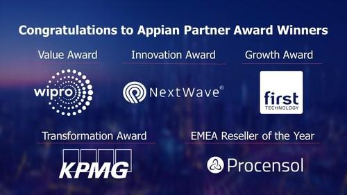 Congratulations to 2021 Appian Partner Award Winners: Wipro, NextWave, First Technology, KPMG Belgium, and Procensol.