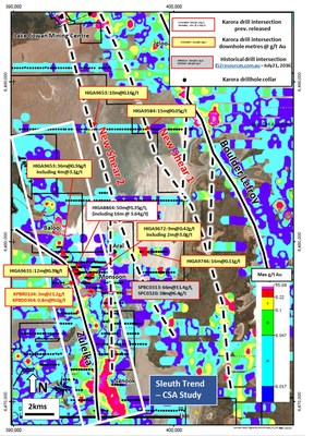"""Figure 3: Regional """"heat map"""" plan of Max g/t Au in drill holes overlaid on satellite image of Lake Cowan highlighting selected significant intersections from recently completed drilling and interpretation of two new northwest trending shear zones, parallel to the interpreted position of the regional Boulder Lefroy and Zuleika Shear Zones (CNW Group/Karora Resources Inc.)"""