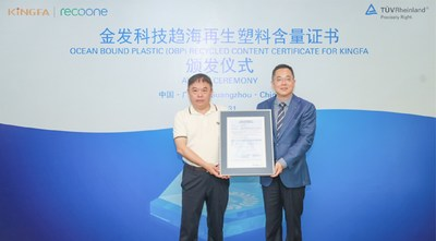 Award Ceremony for Ocean Bound Plastic (OBP) Recycled Content Certificate for Kingfa