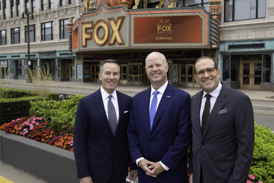 Christopher Ilitch, President and CEO, Ilitch Holdings, Inc. (left), Mike Ritchie, Michigan Market President, Comerica Bank (center) and Howard Handler, President, 313 Presents (right) celebrate Comerica's exclusive presenting partnership of the Fox Theatre in Detroit.