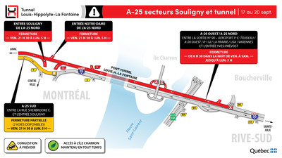 Fermetures de l'autoroute 25 secteurs Souligny et tunnel (Groupe CNW/Ministère des Transports)